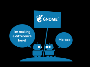 Gnome represented by two blue robots